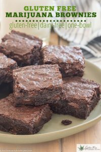green plate with gluten free marijuana infused brownies with chocolate chips