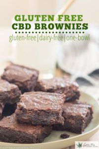 green plate with cbd brownies on it