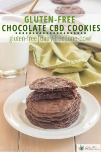 stack of gluten free double chocolate cbd cookies on a white plate with a glass of milk and green tea towel in the background
