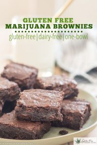 green plate filled with gluten free marijuana brownies with chocolate chips