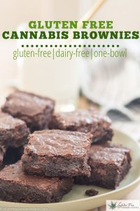 green plate filled with gluten free cannabis infused brownies