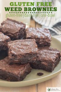 green plate with gluten free dairy free weed infused brownies with chocolate chips