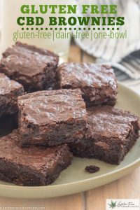 green plate with gluten free dairy free cbd infused brownies with chocolate chips